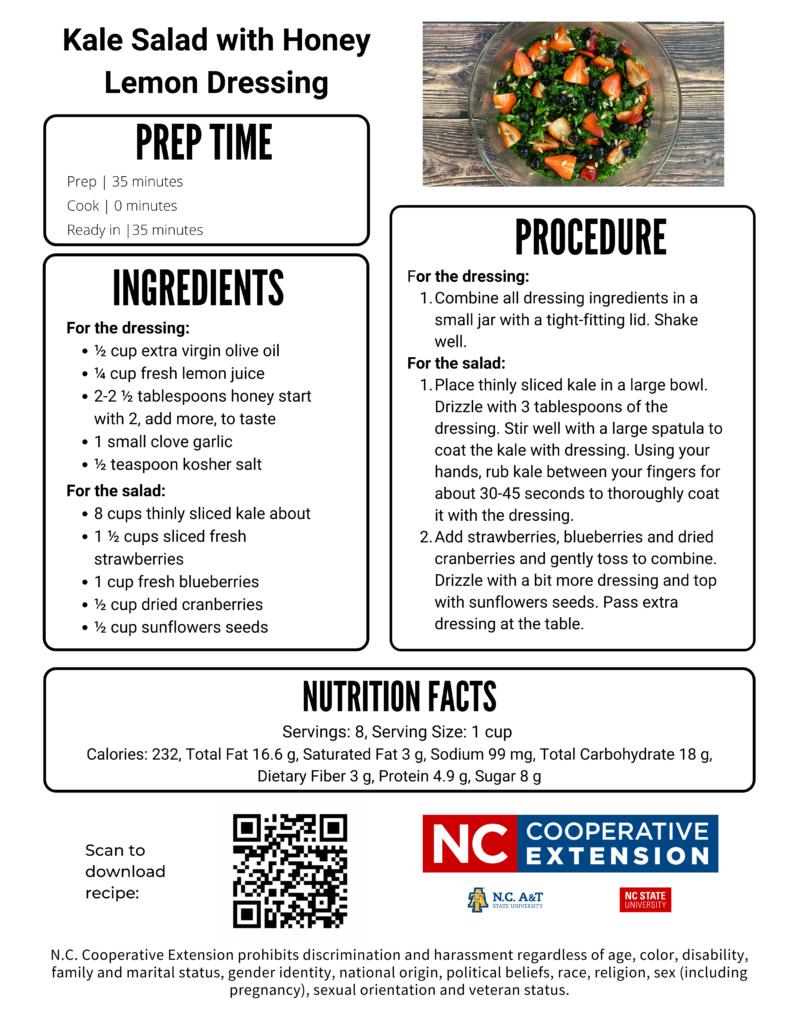 Kale Salad recipe flyer