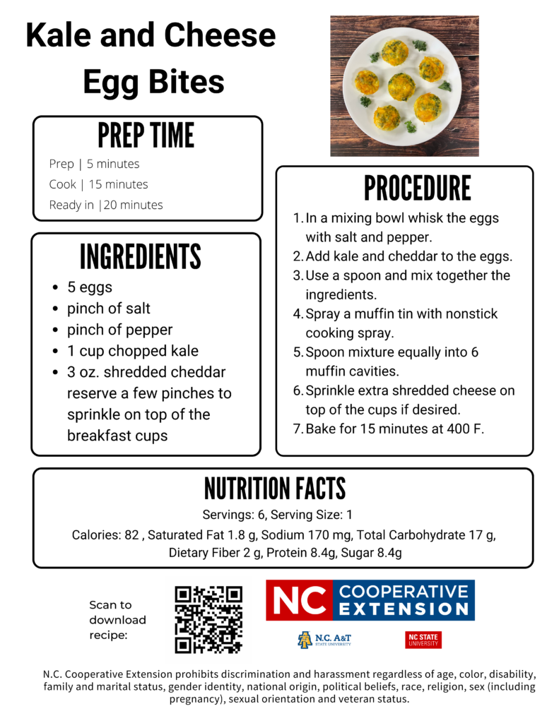 Kale and Egg Cheese Bites recipe flyer